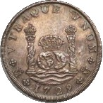 "Reverse side of the silver coins minted in Mexico known as ""columnarios"". They represent two joined by a great crown between two columns inscribed UTRAQUE UNUM  (both are one). This is the motto of our Royal Corporation"