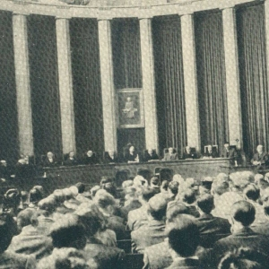 Asistentes a la sesión inaugural del curso 1944-1945, el ingreso de los academicos, presidido por el Excmo. Sr. Dr. D. Ricardo Piqué Batlle - 04/03/1944