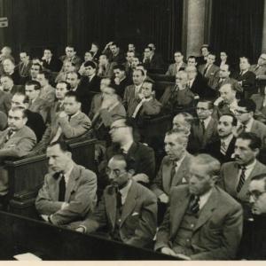 Asistentes al acto del ingreso de Henri De Lovinfosse como académico correspondiente para Bélgica, 20/04/1949  - 20/04/1949