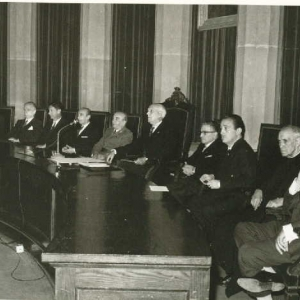 Tribuna presidencial del ingreso Excmo. Sr. D. Juan de Arteaga y Piet (Marqués de la Vega Inclán). 21/11/1965  - 21/11/1965